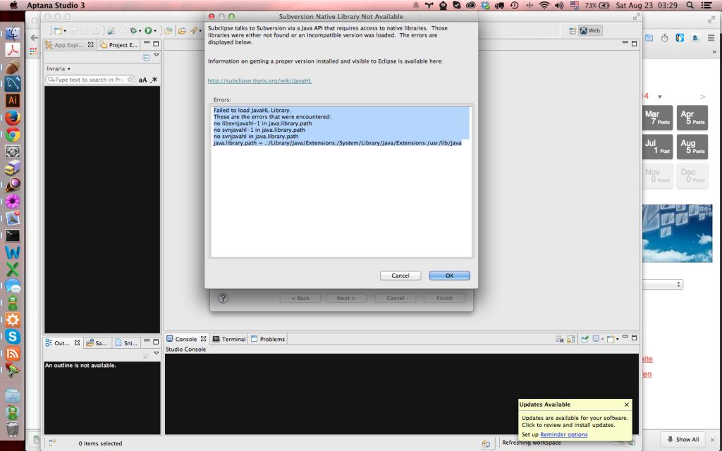 Eclipse / Aptana e subversion: Failed to Load JavaHL Library - erro no Mac OS X Yosemite