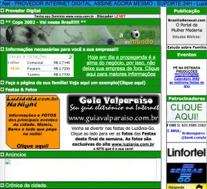 Screenshot que tenho do site em 2002